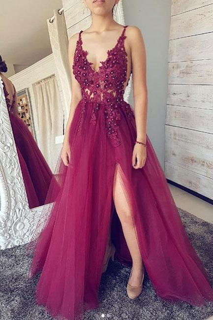V Neck Long Tulle Prom Dress Spaghetti Straps Lace Appliques beaded dress