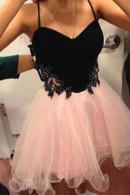 Spaghetti Straps A-line Short Pink Tulle Homecoming Dress