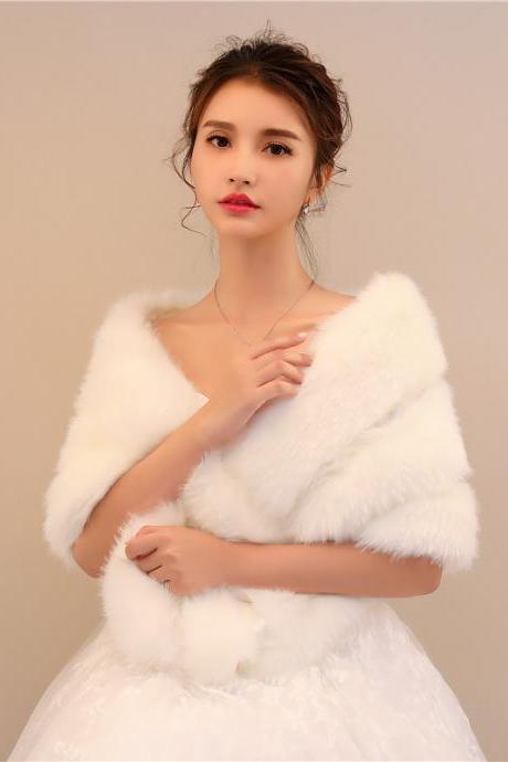 White Women Bridal Wraps Winter Fur Jacket