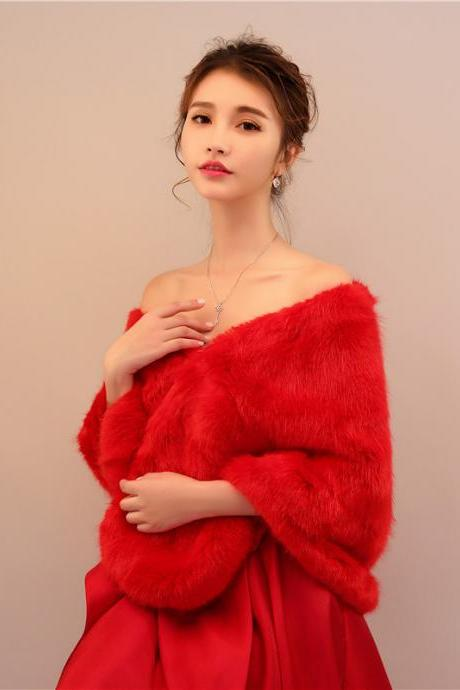 Red Women Bridal Wraps Winter Fur Jacket