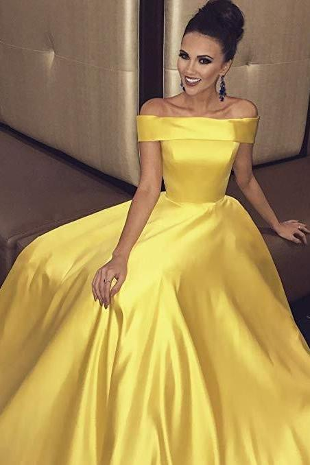 Off the Shoulder A-line Yellow Satin Prom Dress Floor Length Women Evening Gowns