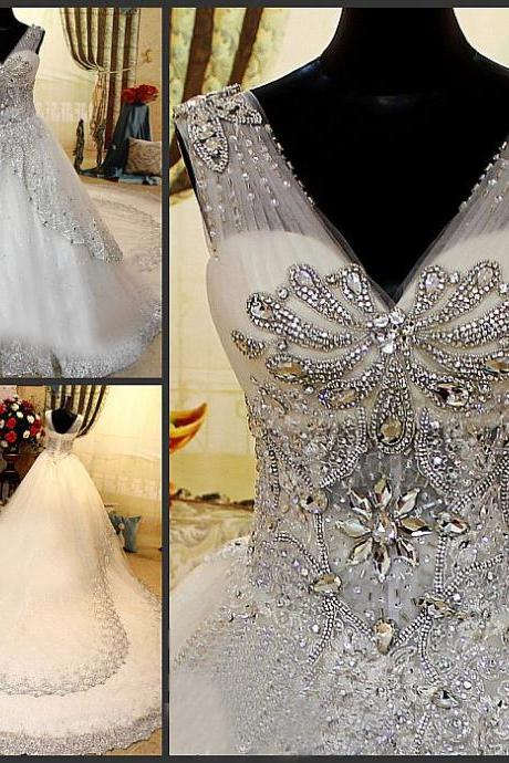 V Neck ball Gown Tulle Lace Wedding Dress Luxurious Crystals Vestido de Novia