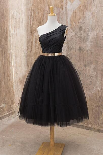 One Shoulder Black Tulle Homecoming Dress Mid-calf Women Party Dress