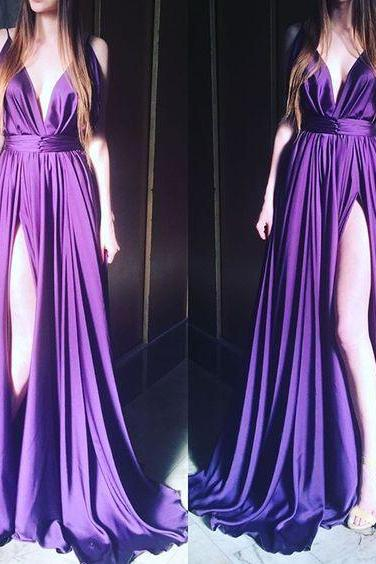 Fashion Women Purple Satin Prom Dress V Neck Pleated Floor Length Slit Evening Dress