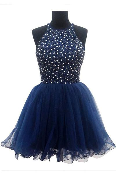 Halter Neck Above Knee Mini Tulle Homecoming Dress Beaded Women Party Dress 2019