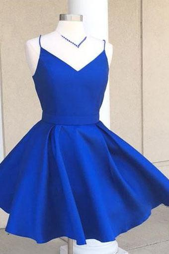 Spaghetti Straps Above Knee Mini Satin Homecoming Dress Zipper women Dress 2019