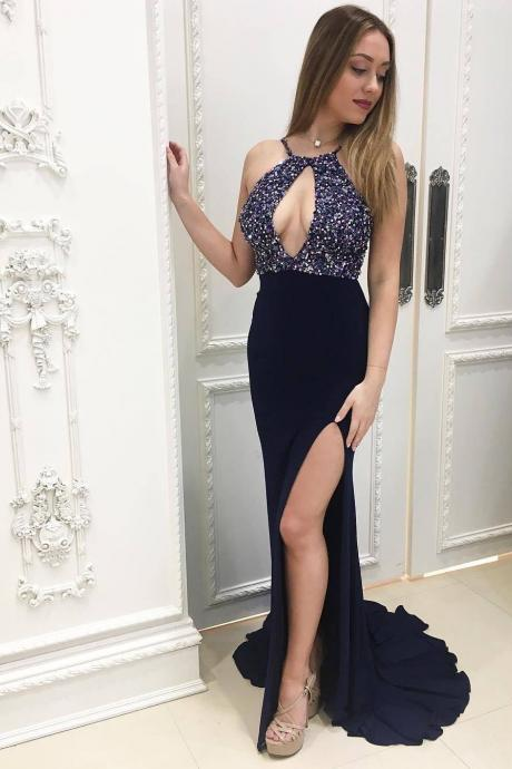 Sexy Open Back Sheath Chiffon Prom Dress Spaghetti Straps Women Dress 2019