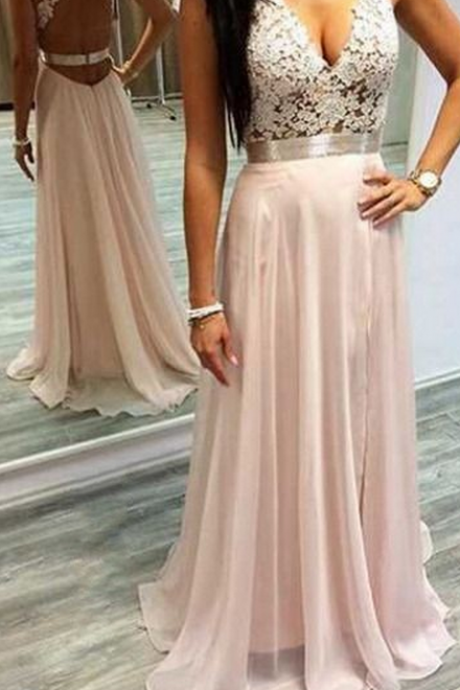 Sexy Open back Pink Chiffon Prom Dress Lace Appliques Long Women Evening Dress