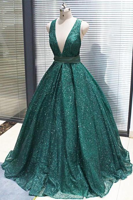 Deep V Neck Ball Gown Satin Prom Dress Sleeveless women Evening Dress 2019
