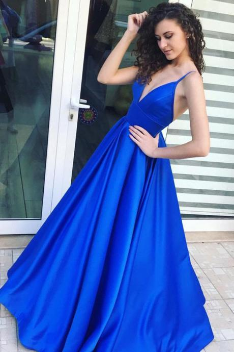 Royal Blue A-line Long Satin prom Dress, V Neck Women Evening Dress