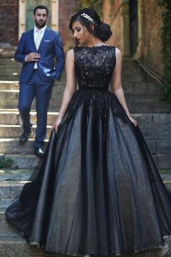 Charming Black Tulle Prom Dresses Sleeveless Appliques Floor Length Party Dresses Long Women Dresses
