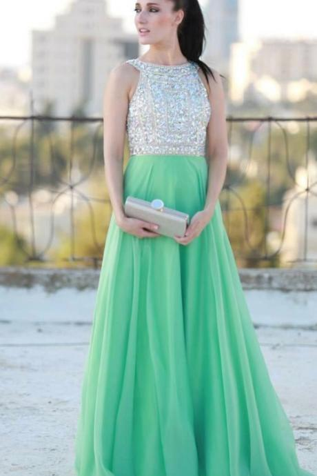Long Chiffon Prom Dresses Charming Crystals Beaded Party Dress Floor Length Tailor Made Women Dresses