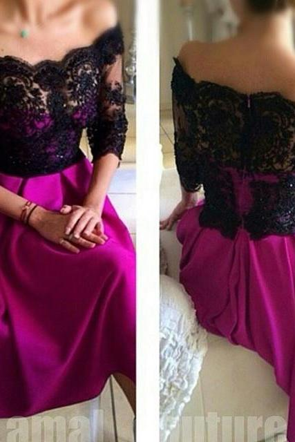 Half Sleeve Lace Appliques Soft Satin Prom Dresses Off Shoulder Floor Length Party Dresses Custom Made Free Shipping