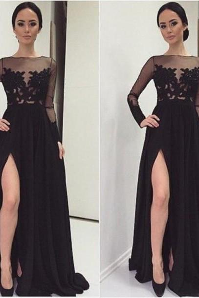 Long Chiffon Evening Dresses Black Full Sleeves Party Dresses Floor Length Lace Appliques Women Dresses