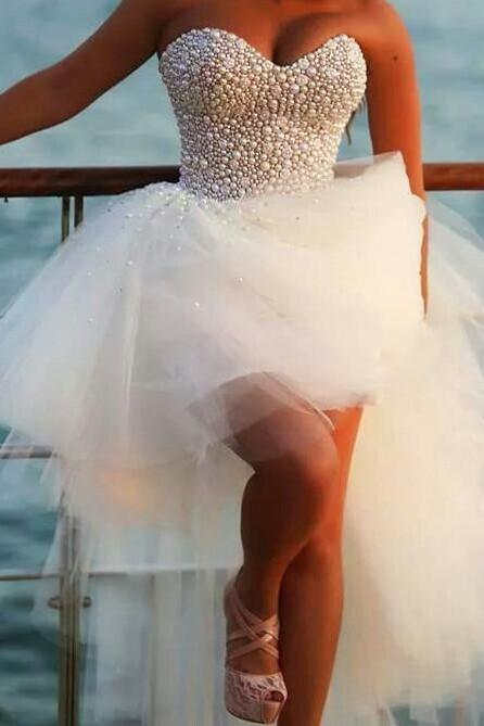 Sweetheart Neck Long Tulle Prom Dresses Pearl Charming Party Dresses Custom Made Women Dresses