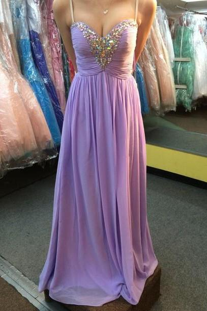 Spaghetti straps Long Chiffon Prom Dresses with crystals Beaded Charming Women Party Dresses Tailor Made 2016