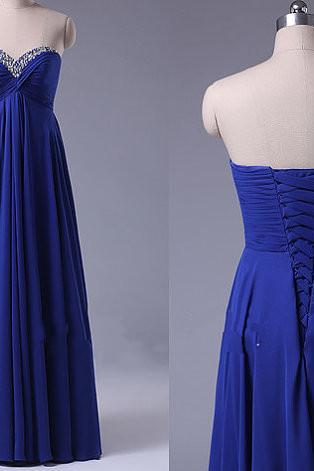 Sweetheart Neck Royal Blue Long Chiffon Prom Dresses Floor Length Crystals Beaded Party Dresses 2016 Tailor Made