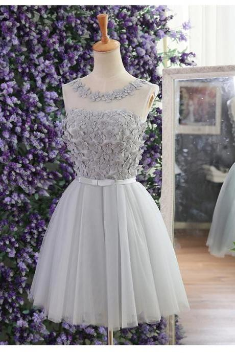Short Tulle Homecoming Dresses Scoop Neck Lace Appliques Party Dress Custom Made