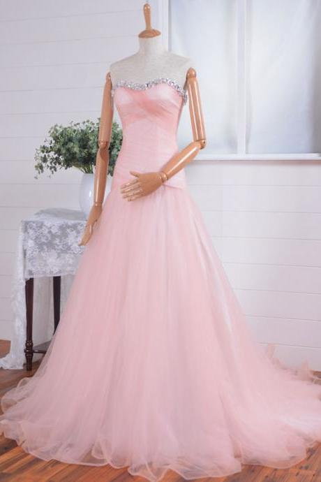 2016 Sweetheart Neck Long Tulle Prom Dresses Crystals Beaded Party Dresses Floor Length Women Dresses