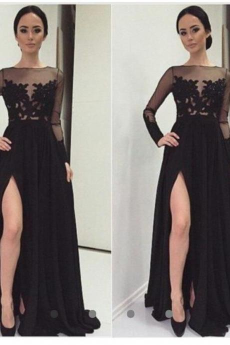 Black Long Chiffon prom Dresses Full Sleeve Lace Appliques Floor Length Party Dress Custom Made Women Dress