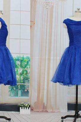 Blue Short Tulle Homecoming Dresses Scoop Neck Charming Women Dresses Custom Made 2016 Party Dresses