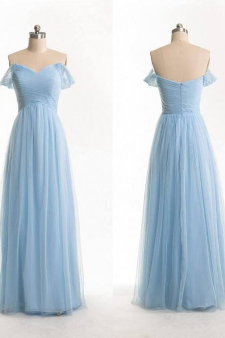 Custom Made Off-Shoulder Pleated Tulle Floor-Length Long Evening Dress, Prom Dresses, Wedding Dress