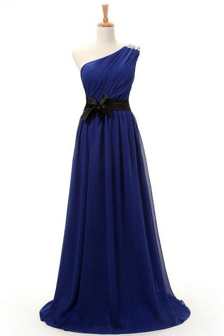 One Shoulder Blue Long Chiffon Prom Dresses 2016 Floor Length Custom Made Party Dresses