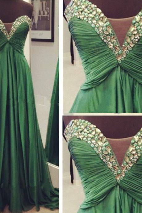 Sweetheart Neck Long Chiffon Prom Dresses Crystals Beaded Party Dresses Women Dresses Custom Made