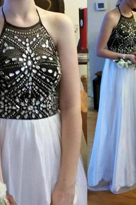 Halter Neck Long Chiffon Prom Dresses 2016 Crystals Beaded Party Dresses Floor Length Women Dresses