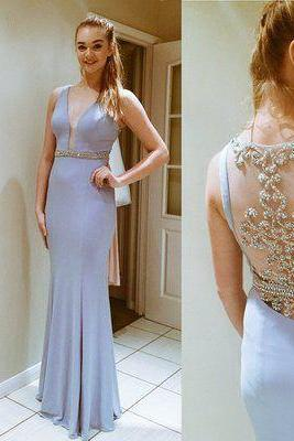 Sexy Mermaid Chiffon Prom Dresses Crystals beaded Floor Length Party Dress Custom Made 2016