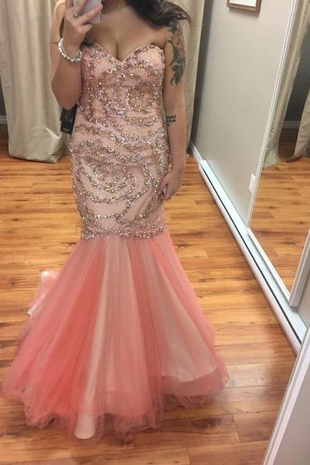 Mermaid Tulle Prom Dresses 2016 with crystals Sweetheart Neck Floor Length Party Dresses