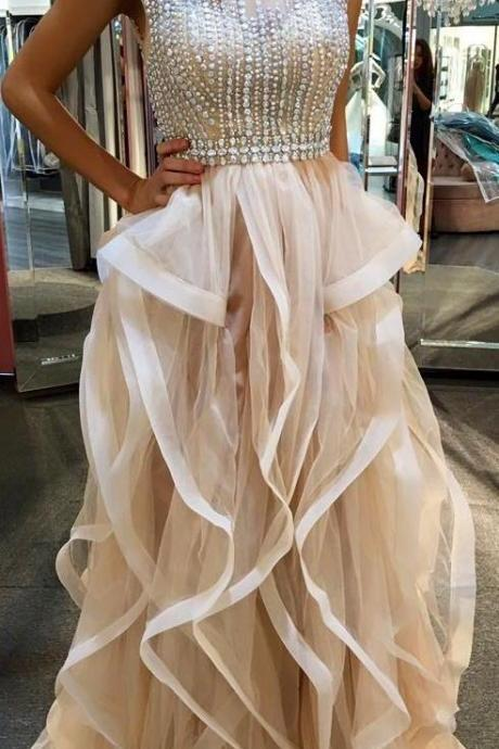 Long Tulle Prom Dresses Scoop Neck Crystals Beaded Floor Length Party Dresses Custom Made Women Dress 2016