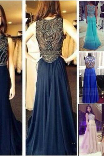 O-neck Long Chiffon Prom Dresses Crystals Floor Length party Dresses Custom Made Women Dresses