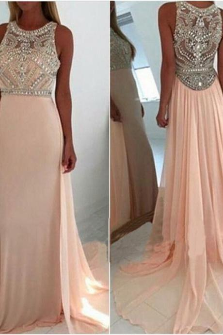 Long Chiffon Crystals Prom Dresses Scoop neck Floor Length Beading Pleat Floor Length Party Dresses Custom made