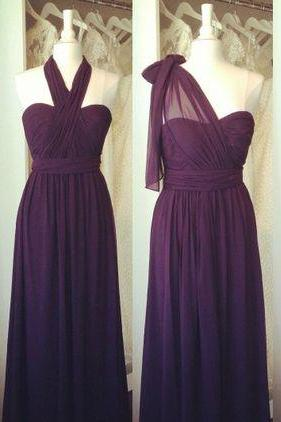 One Shoulder Long Chiffon Prom Dresses Pleat Party Dresses 2016 Custom Made Evening Gowns