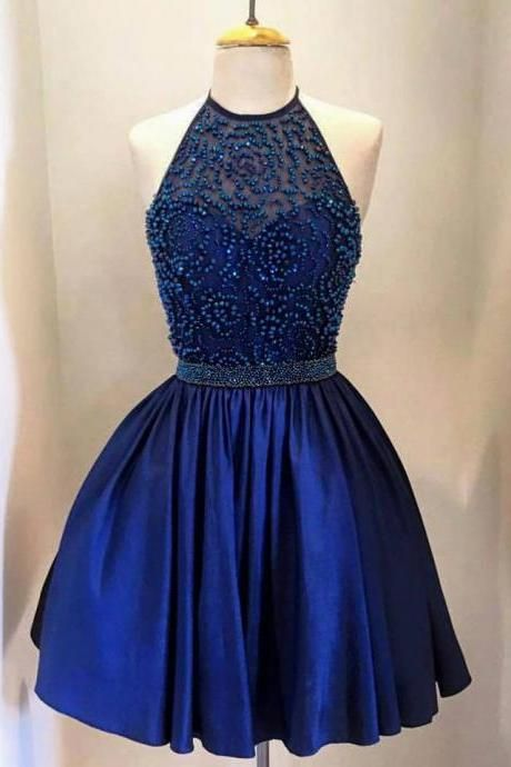 Royal Blue Short Satin Homecoming Dresses with Crystals Mini Party Dresses Custom Made Women Dresses