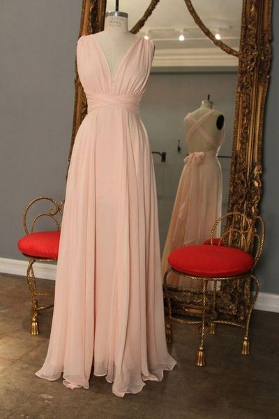 V-neck Long Chiffon Prom Dresses 2016 Floor Length Party Dresses Custom Made Women Dresses 2016 Evening Gowns