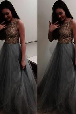 Scoop Neck Long Tulle Prom Dresses Crystals Beaded Party Dresses Floor Length Women Dresses 2016