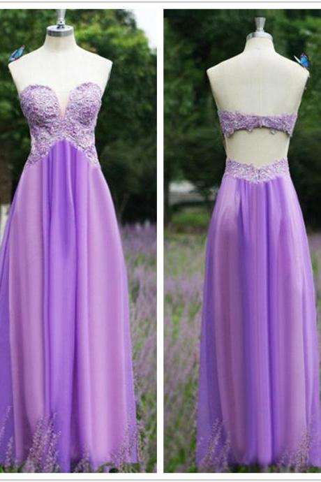 Sweetheart Neck Light Purple Prom Dresses with Lace Appliques Floor Length Party Dresses