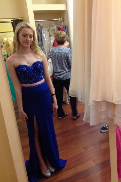 Royal Blue Long Chiffon Prom Dresses Sweetheart Neck Crystals Floor Length Custom Made Party Dresses 2016