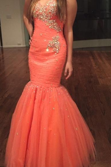 Sexy Mermaid Tulle Prom Dresses Sweetheart Neck Crystals Beaded Floor Length Party Dresses 2016 Custom Made Women Dresses