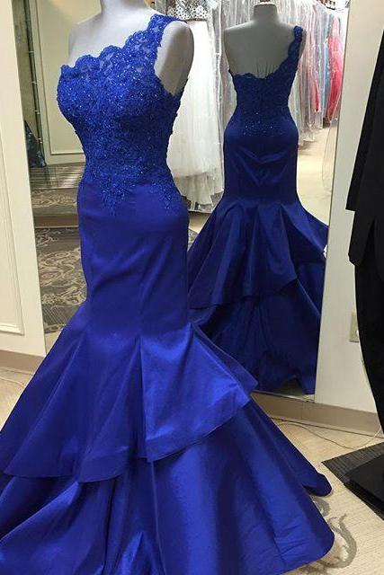 One Shoulder Mermaid Satin Prom Dresses Lace Appliques Floor Length Party Dresses Custom Made Women Dresses