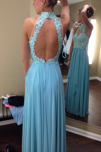 Open Back Long Chiffon Prom Dresses Lace Appliques Floor Length Party Dresses Custom Made Women V-neck Dresses