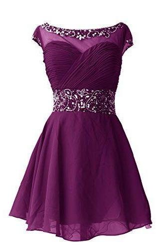 Scoop neck Short chiffon Homecoming Dresses with crystals Custom Made Women Dresses 2016