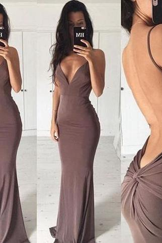 Sexy Mermaid Chiffon Evening Dresses Backless Floor Length Party Dresses Custom Made Women Dresses 2016