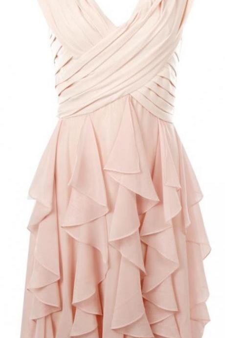 V-neck Short Chiffon Homecoming Dresses Pleat Mini Party Dresses Custom Made Women Dresses