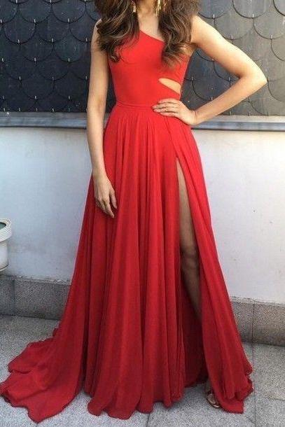 Long Red Chiffon Evening Dresses One Shoulder Women Party Dresses