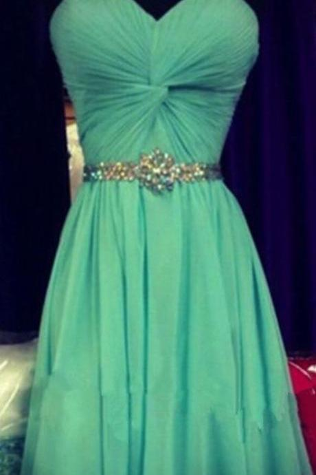 Green Short Chiffon Homecoming Dresses Sweetheart Neck Women Dresses
