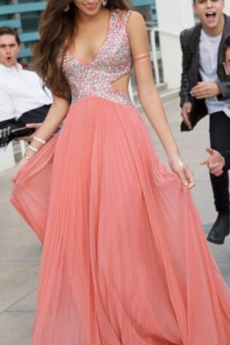 V-neck Long Chiffon Crystals Prom Dresses Floor Length party Dresses