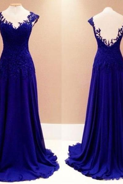 Royal Blue Long Chiffon Prom Dresses Lace Appliques Women party Dresses